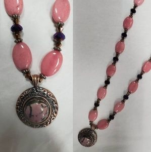 Rose Jade Handcrafted Necklace